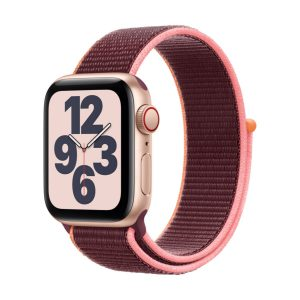 Watch SE GPS + Cellular, 44mm Gold Aluminium Case with Plum Sport Loop